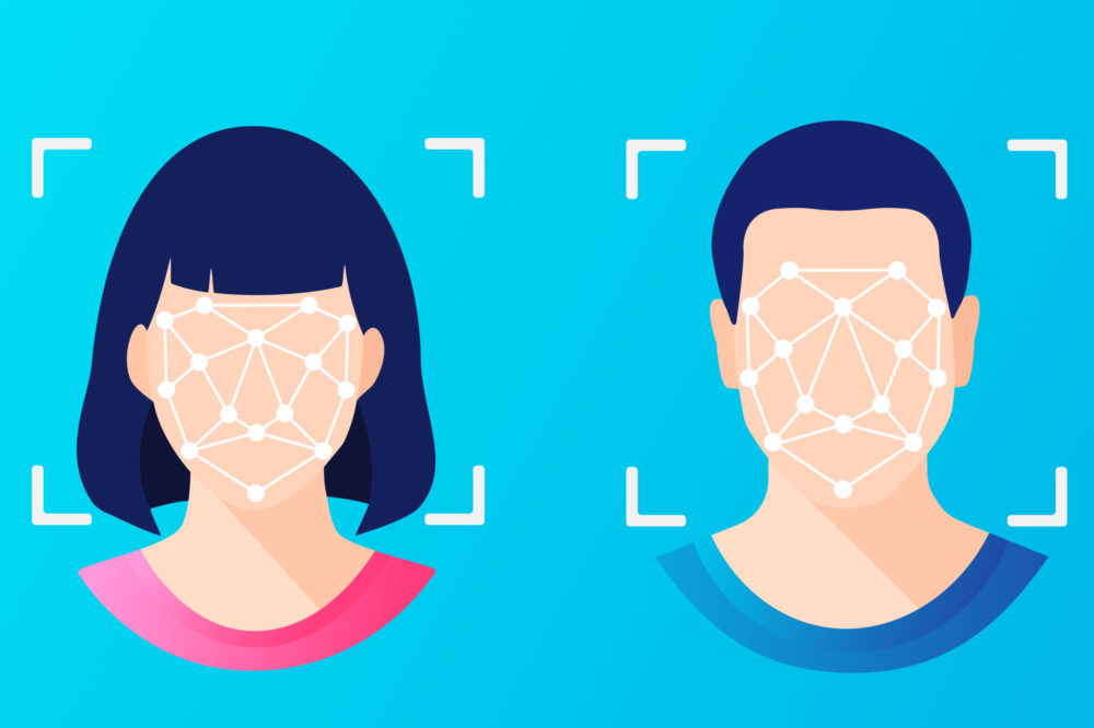 Face ID Recognition Identification, Female and Male Faces Scanning, Flat Vector Illustration