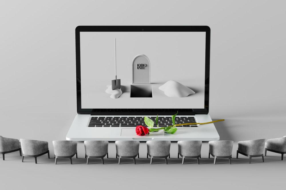 grave on laptop computer, dependence on the digital world, digital death concept 3d render 3d illustration